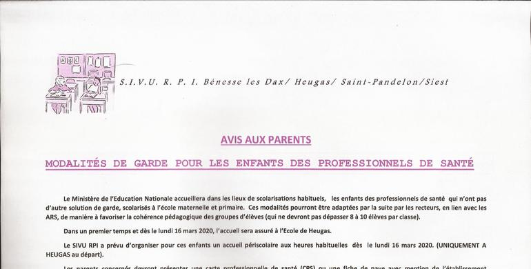 AVIS AUX PARENTS 14 MARS 2020
